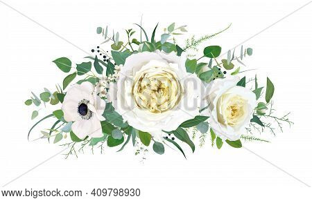 Tender Spring Vector Floral Bouquet Design. Cream Yellow Cabbage Roses, White Anemone, Ivory Wax Flo