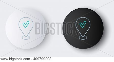 Line Map Pin With Check Mark Icon Isolated On Grey Background. Navigation, Pointer, Location, Map, G