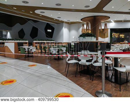 Dnepr, Ukraine- November 22, 2020: Interior Of Empty Food Court During Coronavirus Lockdown
