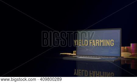 Gold Word Yield Farming On Notebook And Coins For Business Content 3d Rendering