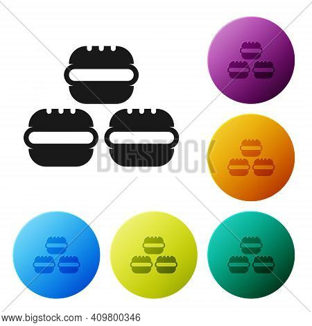 Black Macaron Cookie Icon Isolated On White Background. Macaroon Sweet Bakery. Set Icons In Color Ci