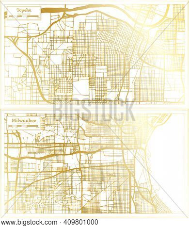 Milwaukee Wisconsin and Topeka Kansas USA City Map Set in Retro Style in Golden Color. Outline Map.