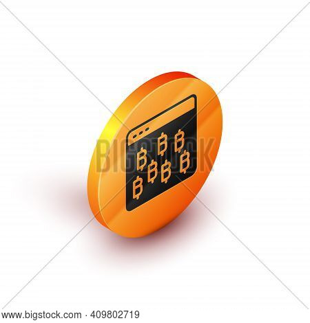 Isometric Cryptocurrency Coin Bitcoin Icon Isolated On White Background. Physical Bit Coin. Blockcha