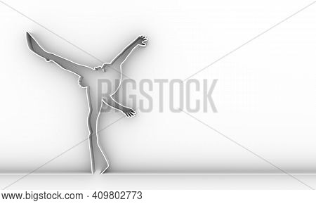 Silhouette Of Diver. Icon Diver. The Concept Of Sport Diving. Thin Line Style. 3d Rendering.