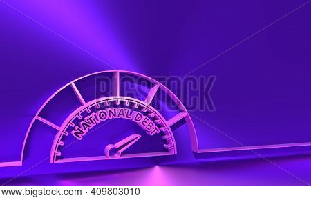 Cholesterol Meter Read High Level Of National Debt Result. The Measuring Device Icon. Thin Line Styl