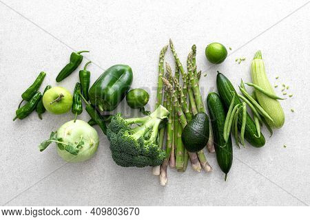 Green Vegetables. Fresh Green Produce. Healthy Vegetarian Food Concept Background. Flat Lay. Top Dow