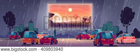 Car Street Cinema At Rainy Weather. Drive-in Theater With Automobiles Stand Under Rain In Open Air P