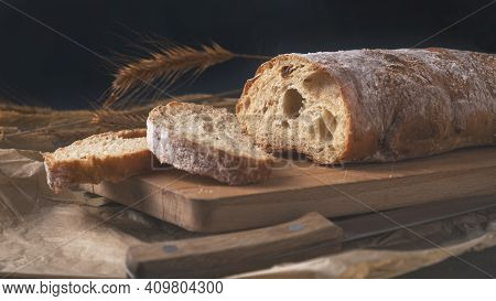 Homemade Ciabatta  Bread On Wooden Board. Fresh Ciabatta Bread.