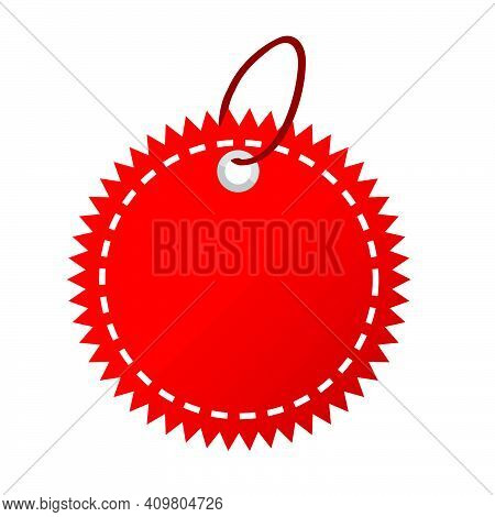 Red Shining Blank Star, Rounded Corner Tag, Isolated On White.