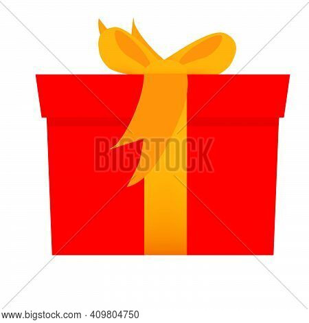 Vector Flat Color Red Gift Box, With Orange Ribbon, Isolated On White.