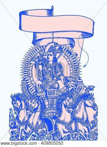 Sketch Of The Hindu Epic Mahabharata's Lord Krishna Showing Vishwaroopa And Telling The Gita In A Ku