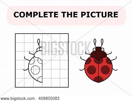 Complete The Picture. Coloring Book. Educational Game For Children. Cartoon Vector Illustration Of C