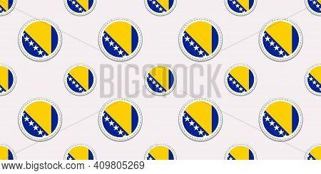Bosnia And Herzegovina Flag Seamless Pattern. Vector Round Sticker Background. Geometric Circle Symb
