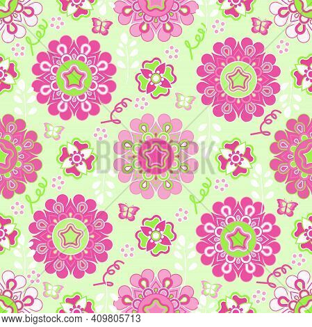 Springtime Summer Lively Lovely Beautiful Pink Flower Floral Ornament Garden With Butterfly Seamless