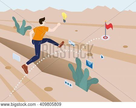 A Young Man Running Overcomes Obstacles To Achieve His Goals. Desert Savanna Landscape, A Metaphor F