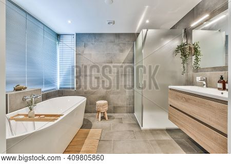 Bright Elegant Bathroom Interior In A Luxury House