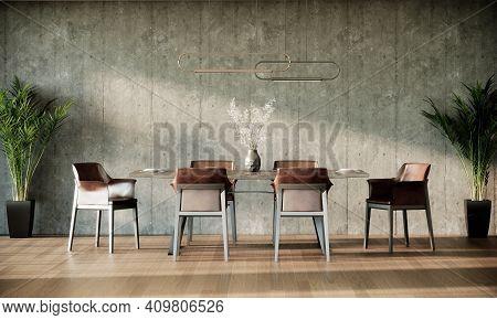 Modern Loft Dining Room Interior Design, Gray Loft Wall And Parquet Floor, 3d Render Background