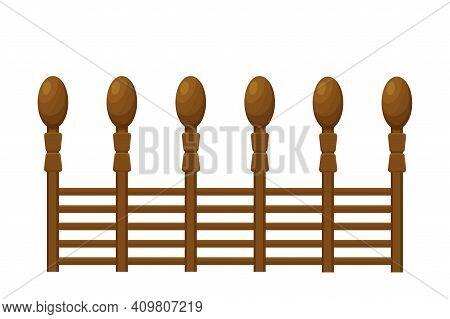 Elegant Wooden Fence, Balcony In Cartoon Style Isolated On White Background. Border, Protection Pick