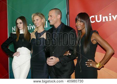 PASADENA, CA - JAN. 7: Coco Rocha, Karolina Kurkova, Nigel Barker and Naomi Campbell arrive at the NBCUniversal 2013 Press Tour at Langham Huntington Hotel on January 7, 2013 in Pasadena, California