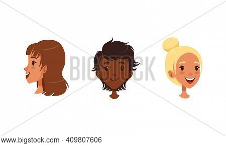 Heads Of Teen Girl In Different Views And Hairstyle Set, Cheerful Teenage Girl In Front, Profile Sid