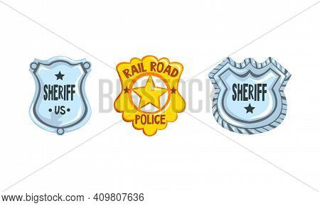 Sheriff Shields And Stars Badges Set, Golden And Silver Western Ranger Sheriff Signs Cartoon Vector