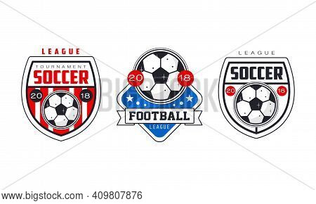 Soccer Football Tournament Logo Templates Set, Sports Team Identity, Championship, League Badge, Emb