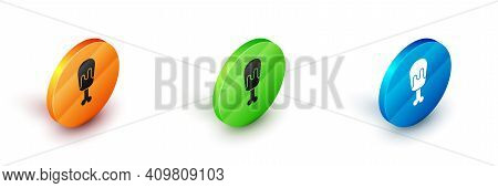 Isometric Chicken Leg Icon Isolated On White Background. Chicken Drumstick. Circle Button. Vector