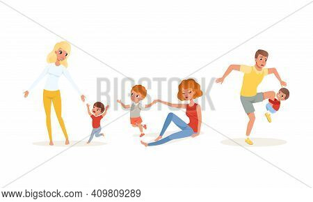 Tired Exhausted Parents And Children Set, Stressed Dad And Mom With Naughty Playful Sons Cartoon Vec