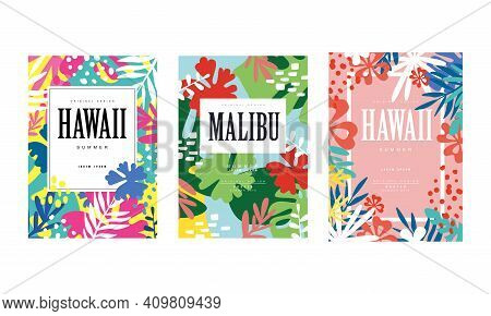 Malibu, Hawaii Banner Templates Set, Tropical Summer Poster, Card, Background, Flyer, Invitation Wit