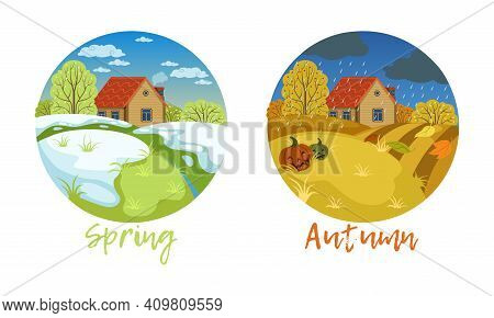 Set Of Autumn And Spring Landscape, Seasons Of Nature, View Of Small House In Nature Rural Landscape