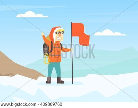 Climber Standing On Top Of Mountain With Flag, Mountaineering, Mountain Climbing And Adventure Carto