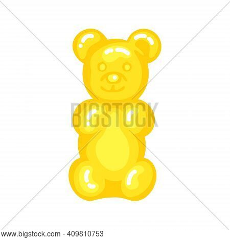 Yellow Gummy Bear Jelly Sweet Candy With Amazing Flavor Flat Style Design Vector Illustration. Brigh