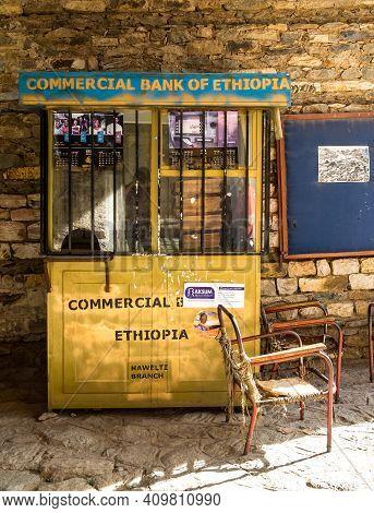Aksum, Ethiopia - Feb 09, 2020: Counter Of The Commercial Bank Of Ethiopia In Axum, Ethiopia