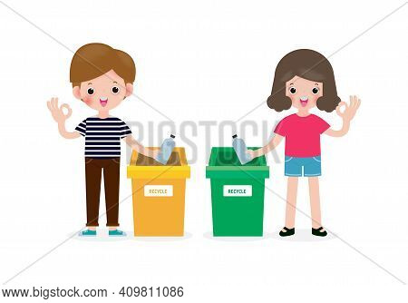 Children Rubbish For Recycling, Kids Segregating Trash, Recycling Trash, Save The World, Male And Fe