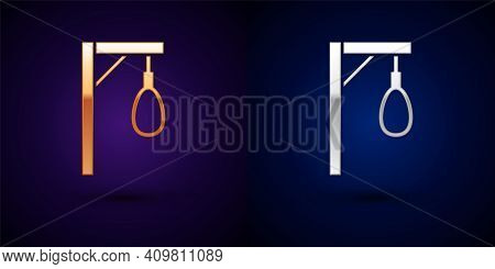 Gold And Silver Gallows Rope Loop Hanging Icon Isolated On Black Background. Rope Tied Into Noose. S