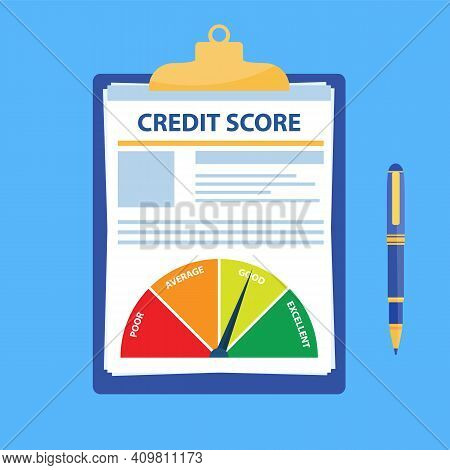 Credit Score Document. Paper Sheet Chart Of Personal Credit Score Information And Pen, Personal Data