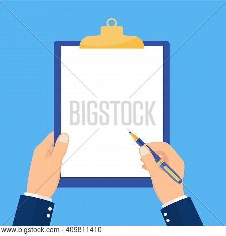 Man Holds A Clipboard And Writes. Empty Blank. Pen In Hand. A Blank Sheet Of Paper To Write. Vector