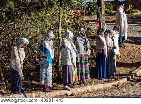 Axum, Ethiopia - Feb 10, 2020: Mass At The Ethiopian Orthodox Church In Aksum Ethiopia, Africa