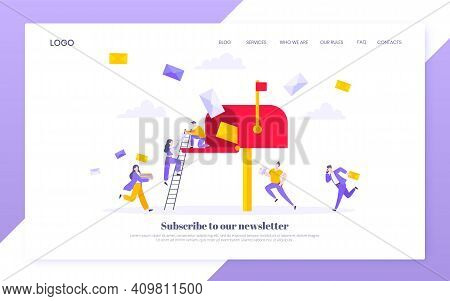 Subscribe Now To Our Newsletter Vector Illustration With Tiny People Running Toward Mailbox. Email N
