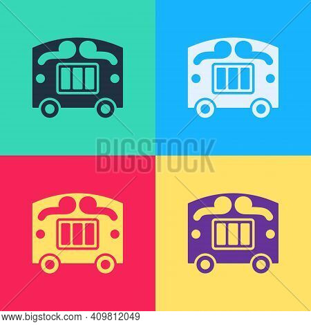 Pop Art Circus Wagon Icon Isolated On Color Background. Circus Trailer, Wagon Wheel. Vector