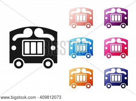 Black Circus Wagon Icon Isolated On White Background. Circus Trailer, Wagon Wheel. Set Icons Colorfu