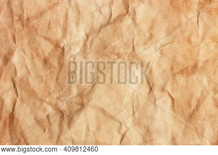 Parchment Paper Background. Coffee Stains Background. Brown Crumpled Texture. Burned Letter Structur