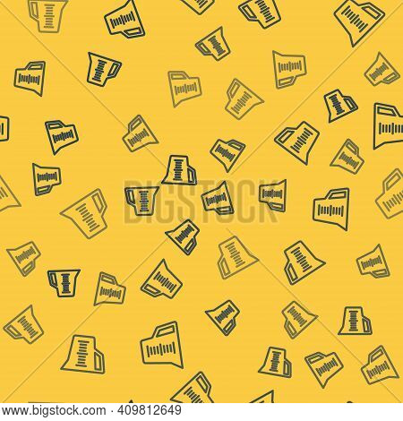 Blue Line Measuring Cup To Measure Dry And Liquid Food Icon Isolated Seamless Pattern On Yellow Back