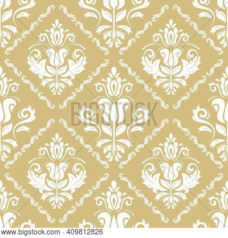 Classic Seamless Pattern. Damask Orient Ornament. Classic Vintage Background. Orient Golden And Whit