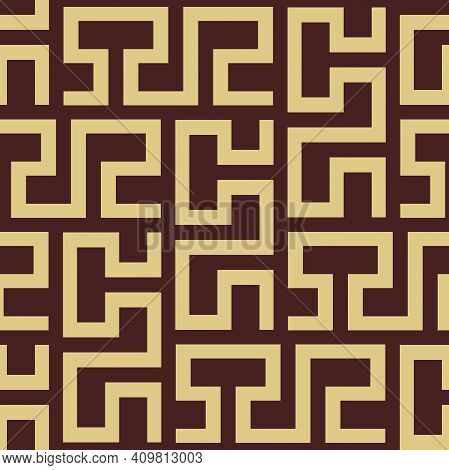 Seamless Background For Your Designs. Modern Brown And Golden Rnament. Geometric Abstract Pattern