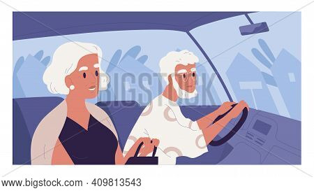 Side View Of Old Gray-haired Couple Inside Car On Summer Evening. Scene With Elegant Senior People D