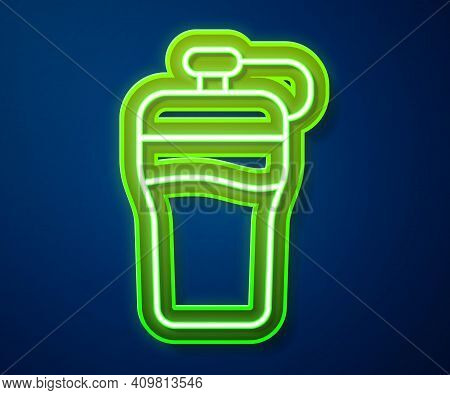 Glowing Neon Line Fitness Shaker Icon Isolated On Blue Background. Sports Shaker Bottle With Lid For