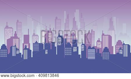 Cityscape Background At Dusk, Downtown, Mall And Apartment Building. Vector Cityscape Illustration.