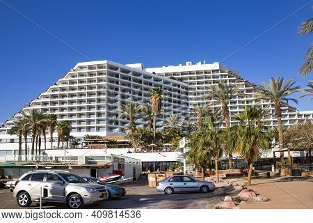 Israel, Eilat, March, 20, 2016 - Modern Multi-story Hotel On The Red Sea Coastline In Eilat, Middle