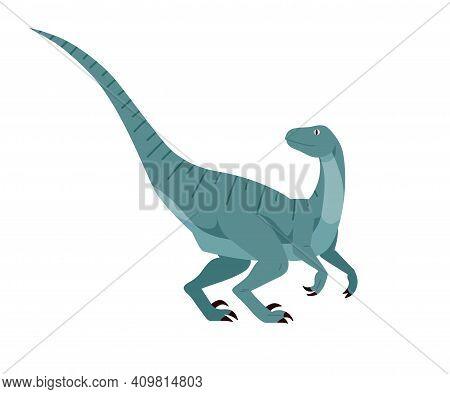 Profile Of Velociraptor Dino. Extinct Dinosaur. Raptor Of Ancient Jurassic Period. Prehistorical Cha
